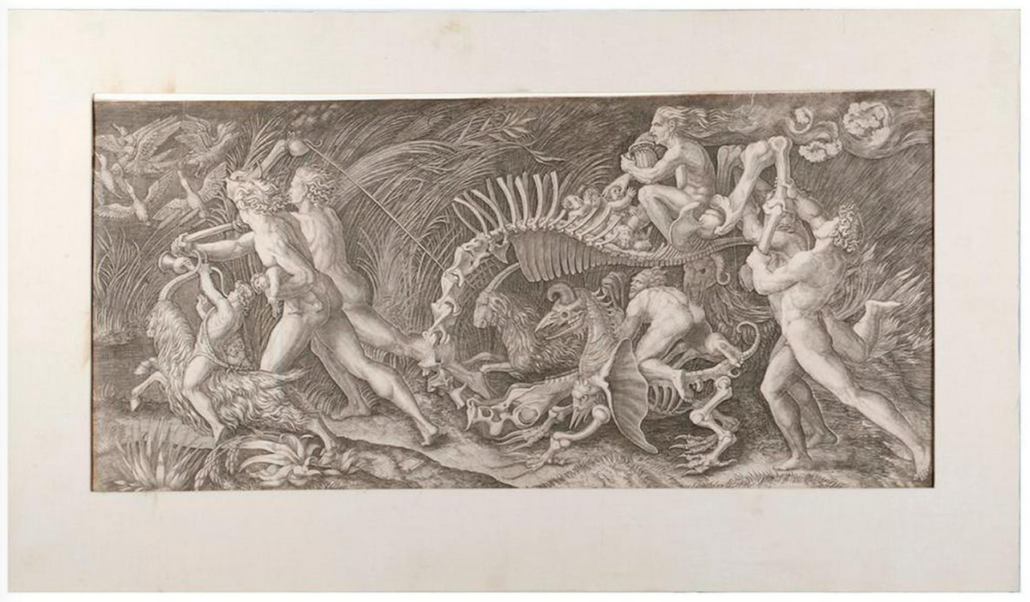 """Agostino Veneziano (1490-1569). An engraving titled """"The Carcass,"""" circa 1515. Matte size: 17 ¼ inches high x 29 ¾ inches. Image size: 12 inches high x 24 ¾ inches. Condition: Good. Date: 16th century. Estimate: $3,000-4,000"""