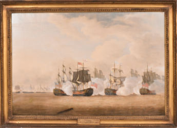 J.T. Serres naval battle paintings on front line at Nye & Co. Sept. 18