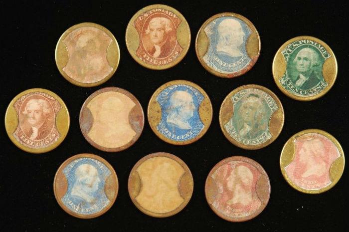 Encased postage stamps