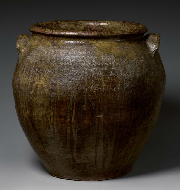 inscribed jar by David Drake