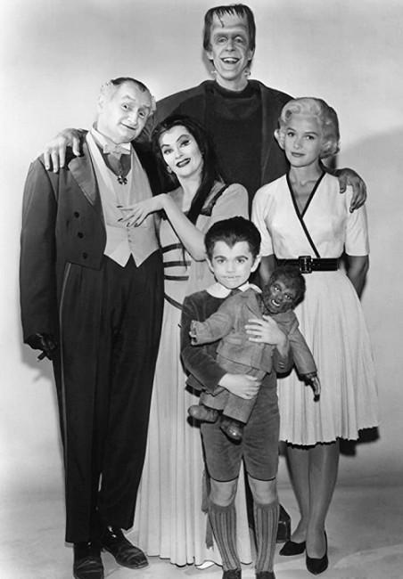 Al Lewis as Grandpa Munster, Yvonne De Carlo as Lily Munster, Fred Gwynne, actor Butch Patrick as Eddie Munster and Pat Priest as Marilyn.