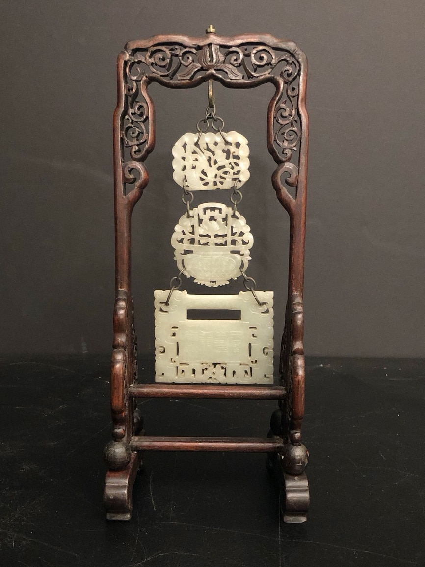19th-century Chinese hanging jade chime with carved hardwood screen, 13 x 5.5 x 4.25in. Estimate $800-$1,200