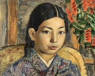 Burliuk portrait of Japanese girl excels at Weiss Auctions