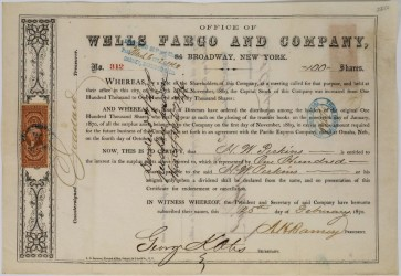 Wells Fargo stock certificate pays big dividends at Holabird sale