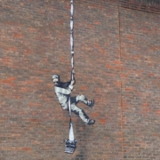 Banksy image painted on the wall of HM Reading Prison