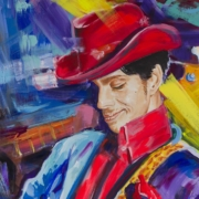 A portrait of Prince from Ruby Mazur's 'High Volume' series of paintings.