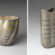Osumi Yukie, Japanese, born 1945. High Tide Comes In (Shiomitsu), 2007. Japan, Heisei period (1989–2019). Hammered silver with nunomezōgan (textile imprint inlay) in lead and gold. H. 9 1/2 in. (24.1 cm); Diam. 9 in. (22.9 cm); Nakagawa Mamoru (Japanese, born 1947). 7 o'clock NY, 2020. Japan, Reiwa (2019–present). Cast alloy of copper, silver and tin with inlays of copper, silver and gold H. 13 7/8 (35.2 cm); W. 6 1/8 in. (15.6 cm); D. 3 1/2 in. (8.9 cm); The Metropolitan Museum of Art, Gifts of Hayashi Kaoru, in celebration of the Museum's 150th Anniversary, 2020 (2020.76.1; 2020.390.1). Images courtesy of the Metropolitan Museum of Art.