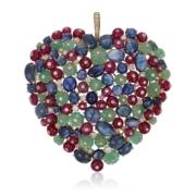 Michele della Valle multi-gem and diamond heart pendant, estimate $8,000-$12,000. Image courtesy Christie's