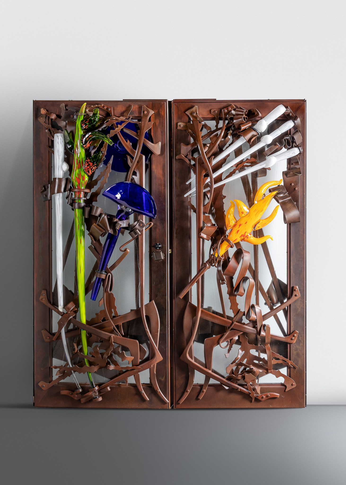 Pair of entrance doors by Albert Paley, glass elements by Martin Blank, 2004. Image courtesy Hindman