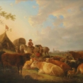 Continental School, 'Cows at rest in a sunlit pasture,' 19th centurr, $3,000-$5,000. Image courtesy Andrew Jones Auctions