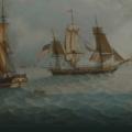 "Michele Felice Cornè, ""Ship America on the Grand Banks,"" about 1799. Image courtesy Peabody Essex Museum"