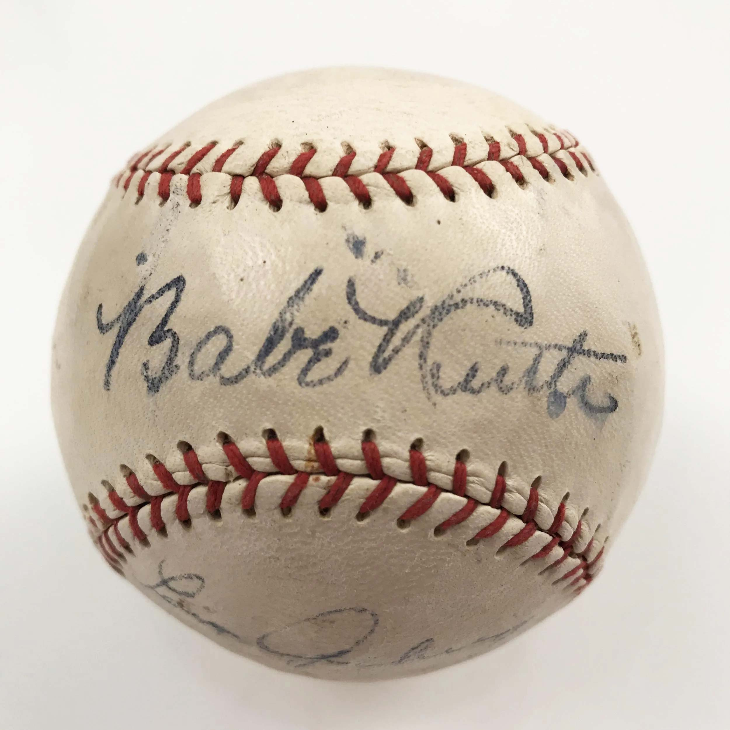 Babe Ruth- and Lou Gehrig-signed Spaulding baseball, estimate $10,000-$15,000. Image courtesy Fine Estate, Inc. and LiveAuctioneers.com