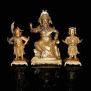 A rare group of gilt bronze figures (Guandi, Guan Ping and Zhou Cang)