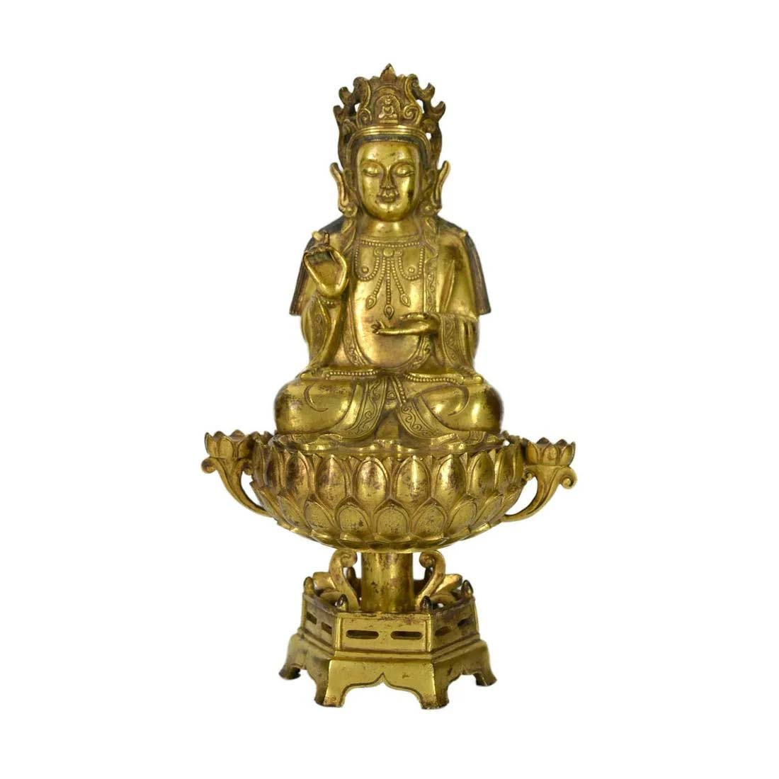 Gilt bronze seated figure of Guanyin, Qing Dynasty, $12,000-$20,000. Image courtesy Gianguan Auctions