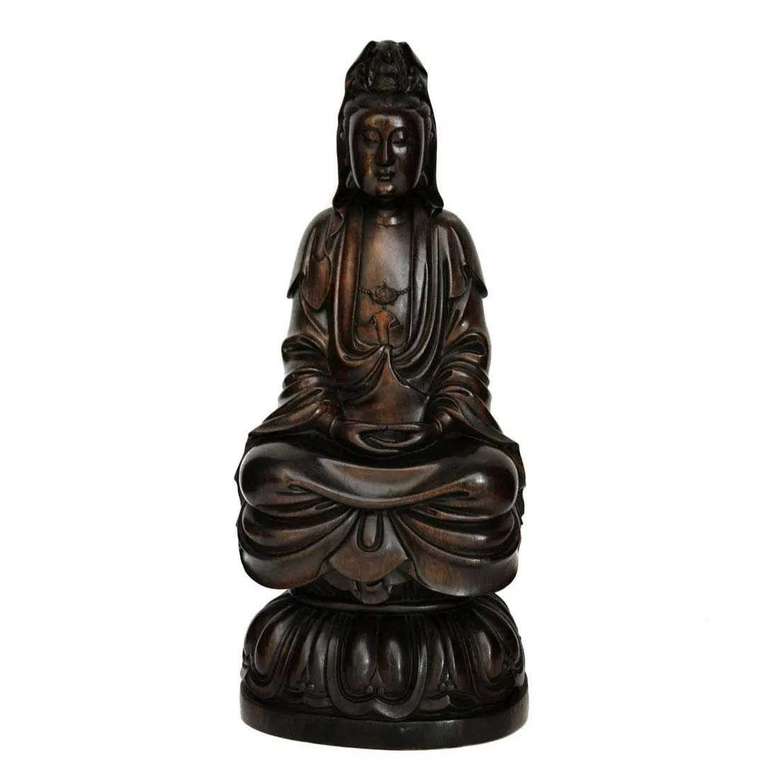 Zitan Guanyin on lotus seat, Qing Dynasty, $6,000-$8,000. Image courtesy Gianguan Auctions
