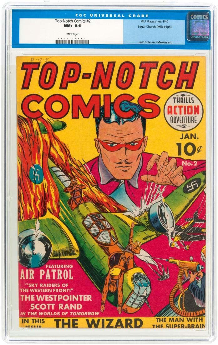 A Top-Notch Comics #2, January 1940, from MLJ Magazines, featuring Jack Cole and Mort Meskin art, sold for $9,257 + the buyer's premium at Hake's Auctions in March 2017. Photo courtesy of Hake's Auctions and LiveAuctioneers.