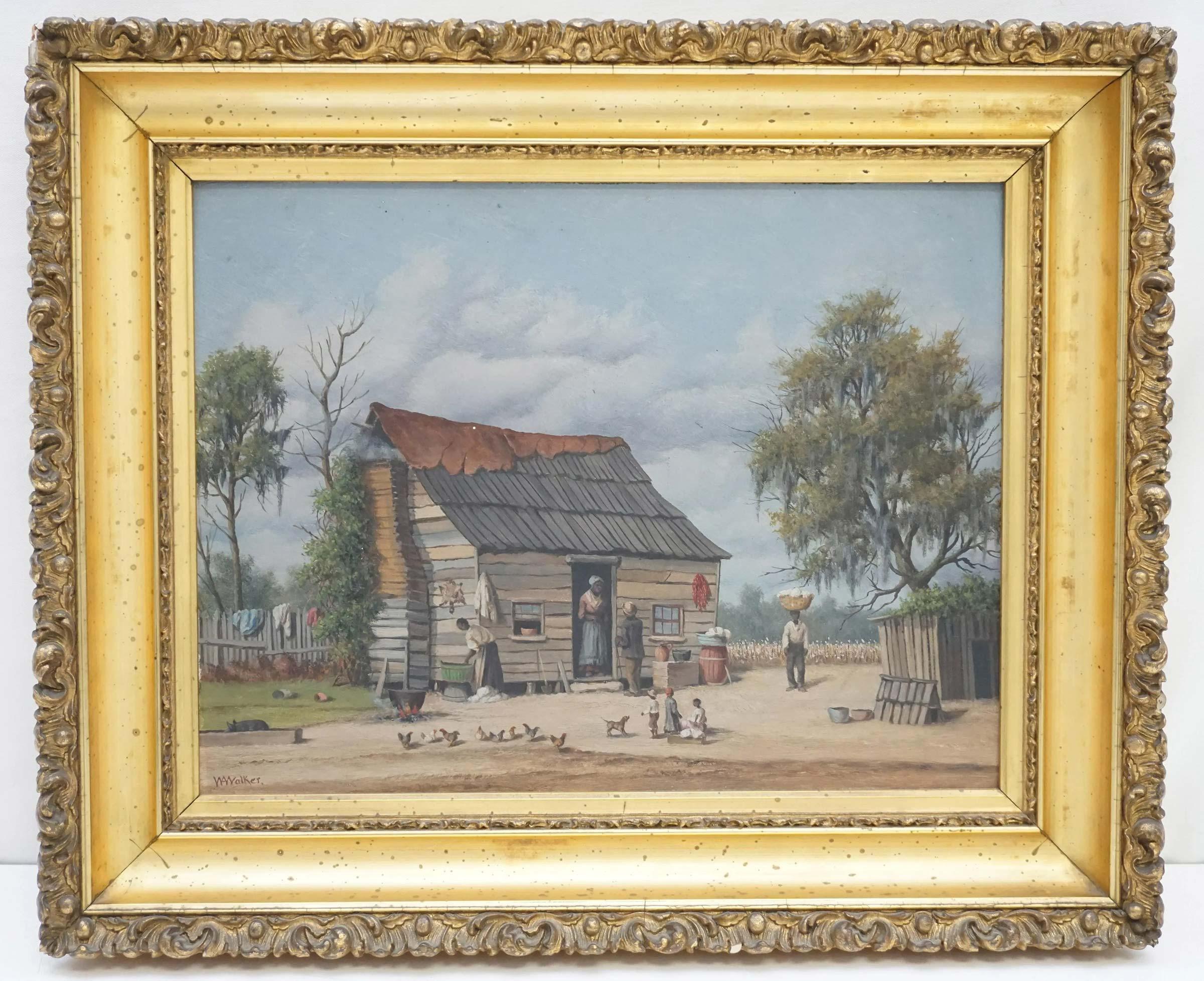 William Aiken Walker (1838-1921) Busy South Carolina Cabin Scene, $11,000-$14,000.