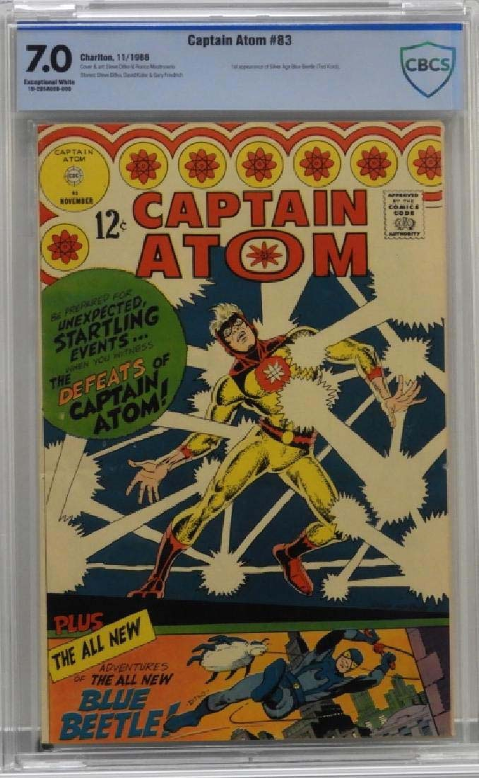 A copy of Charlton Comics' Captain Atom #83 (November 1966) realized $275 + the buyer's premium in December 2018 at Bruneau & Co. Auctioneers. This issue marked the debut of the Silver Age Blue Beetle character. Photo courtesy of Bruneau & Co. Auctioneers and LiveAuctioneers.