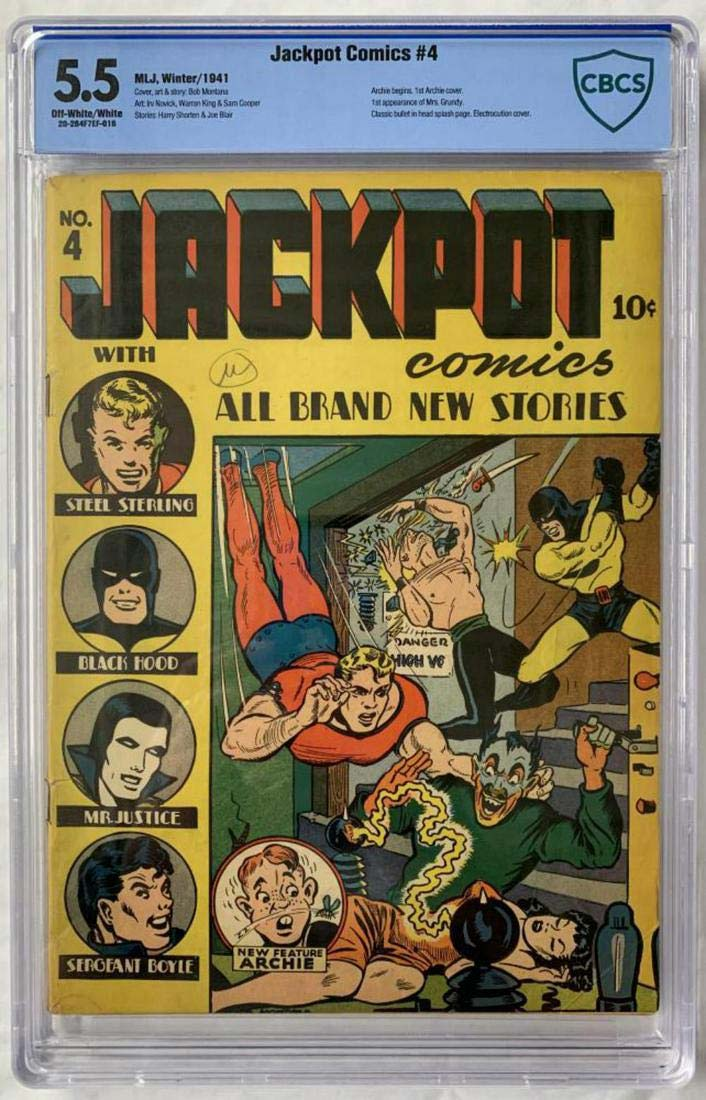 Before he got his own line of comics, Archie made his cover debut as a character in Jackpot Comics #4. This copy took $7,000 + the buyer's premium at Weiss Auctions in November 2020. Photo courtesy of Weiss Auctions and LiveAuctioneers.