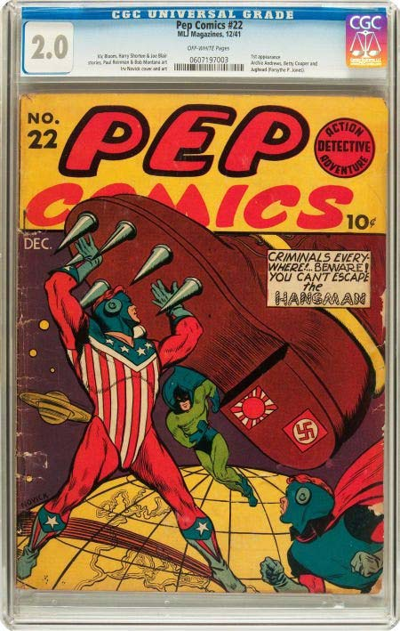 A Pep Comics #22 (MLJ, 1941) fetched $30,000 + the buyer's premium in May 2012 at Heritage Auctions. Photo courtesy of Heritage Auctions and LiveAuctioneers