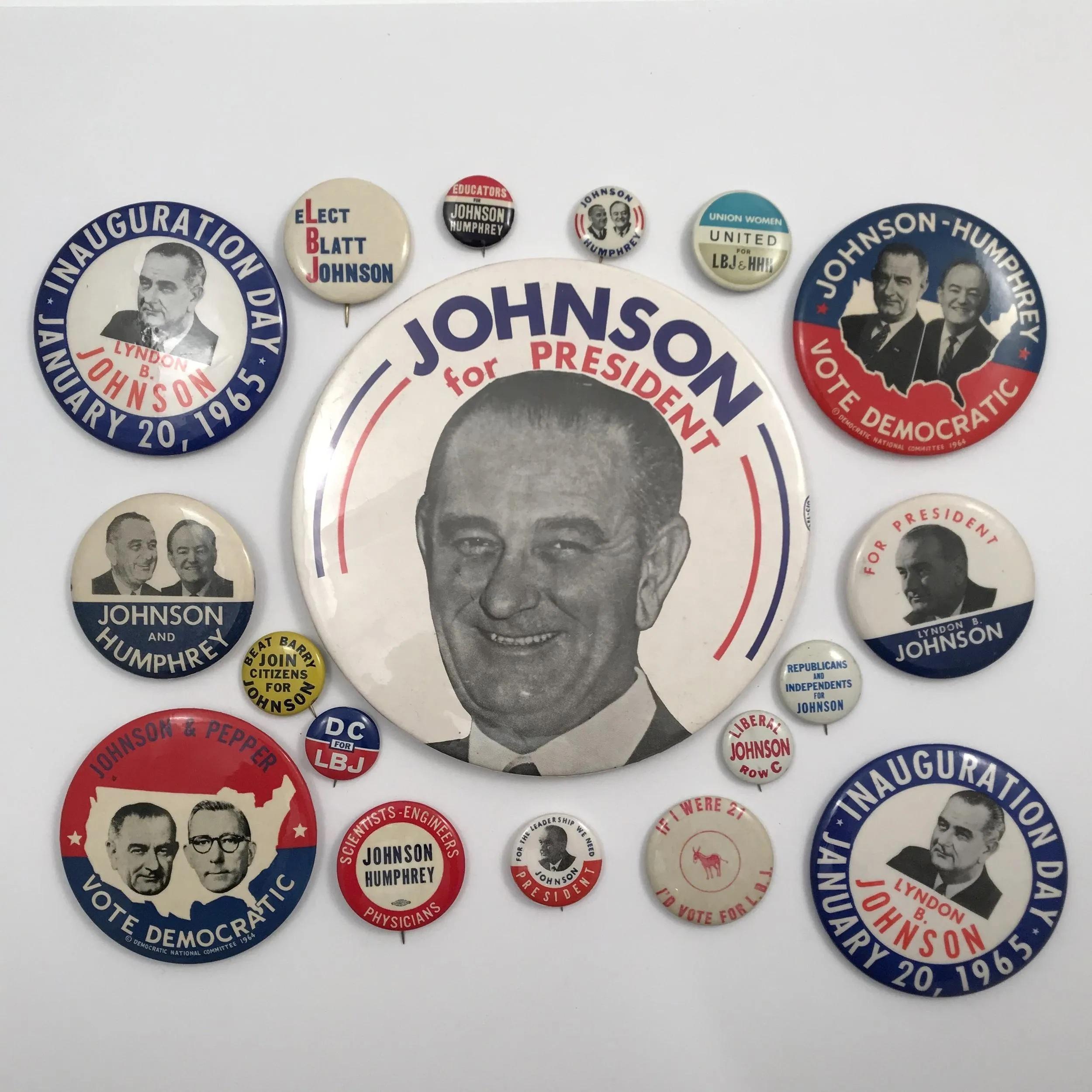 Group of 75 Lyndon Johnson presidential campaign items, $3,437. Image courtesy Fine Estates, Inc.