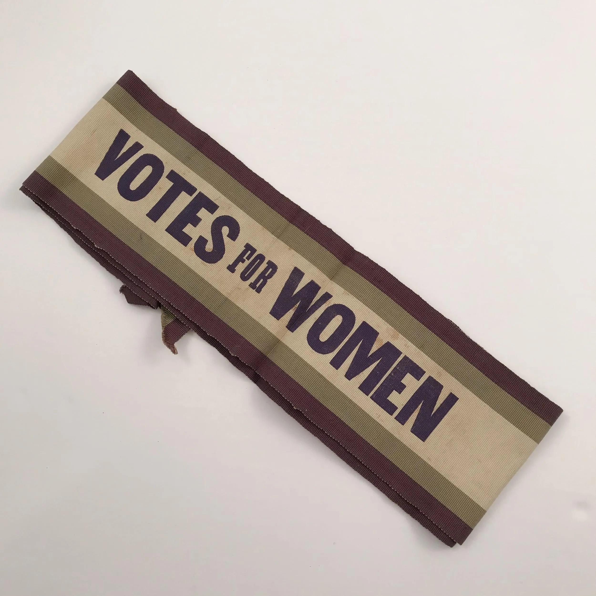 """Votes for Women"" cloth parade sash, $7,500. Image courtesy Fine Estate, Inc."