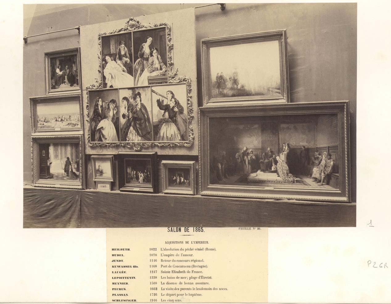 In researching the lot, Martina Fusari located a period photograph of Henri Guillaume Schlesinger's The Five Senses on display at the 1865 Paris Salon. Image courtesy Bonhams