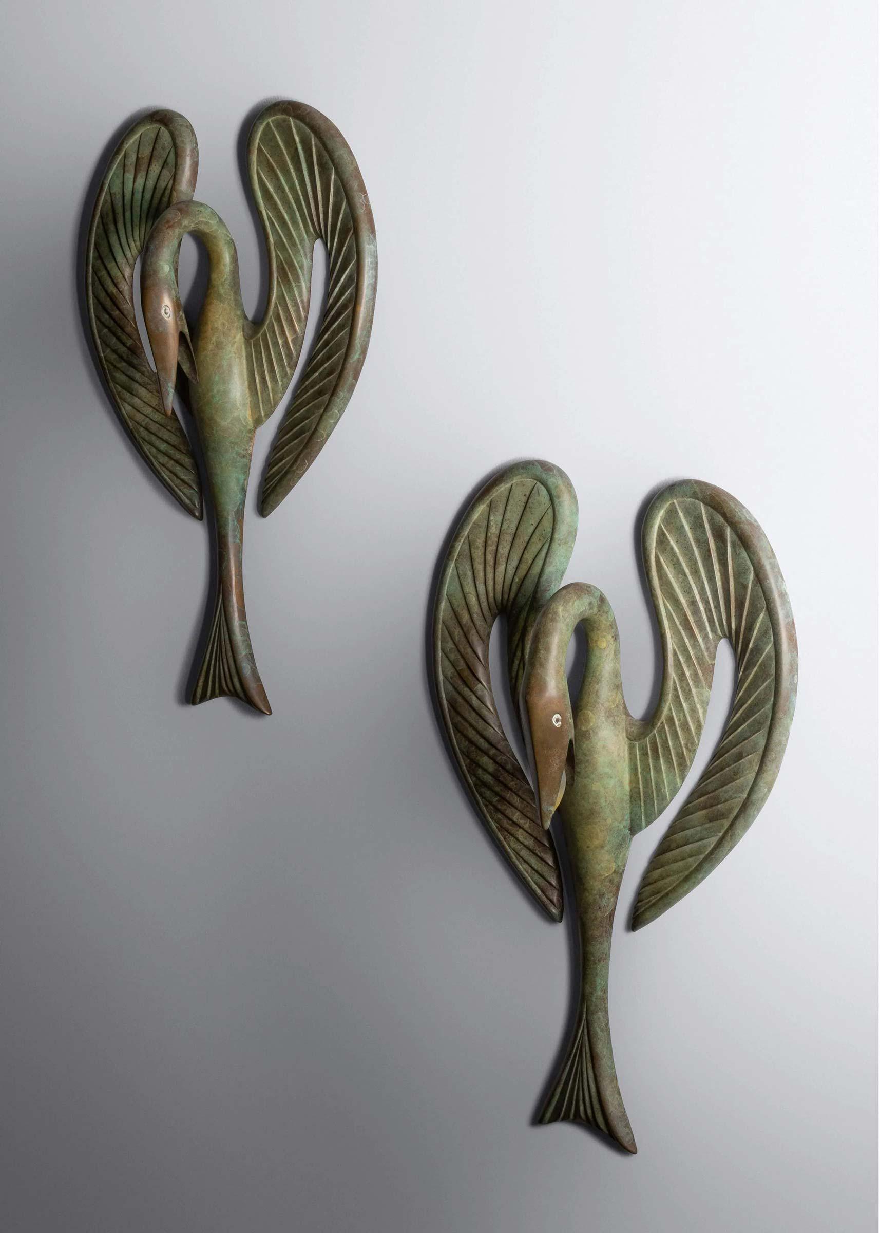 Judy Kensley McKie (b. 1944) Swan Sconces, 1994, $28,125. Image courtesy Hindman