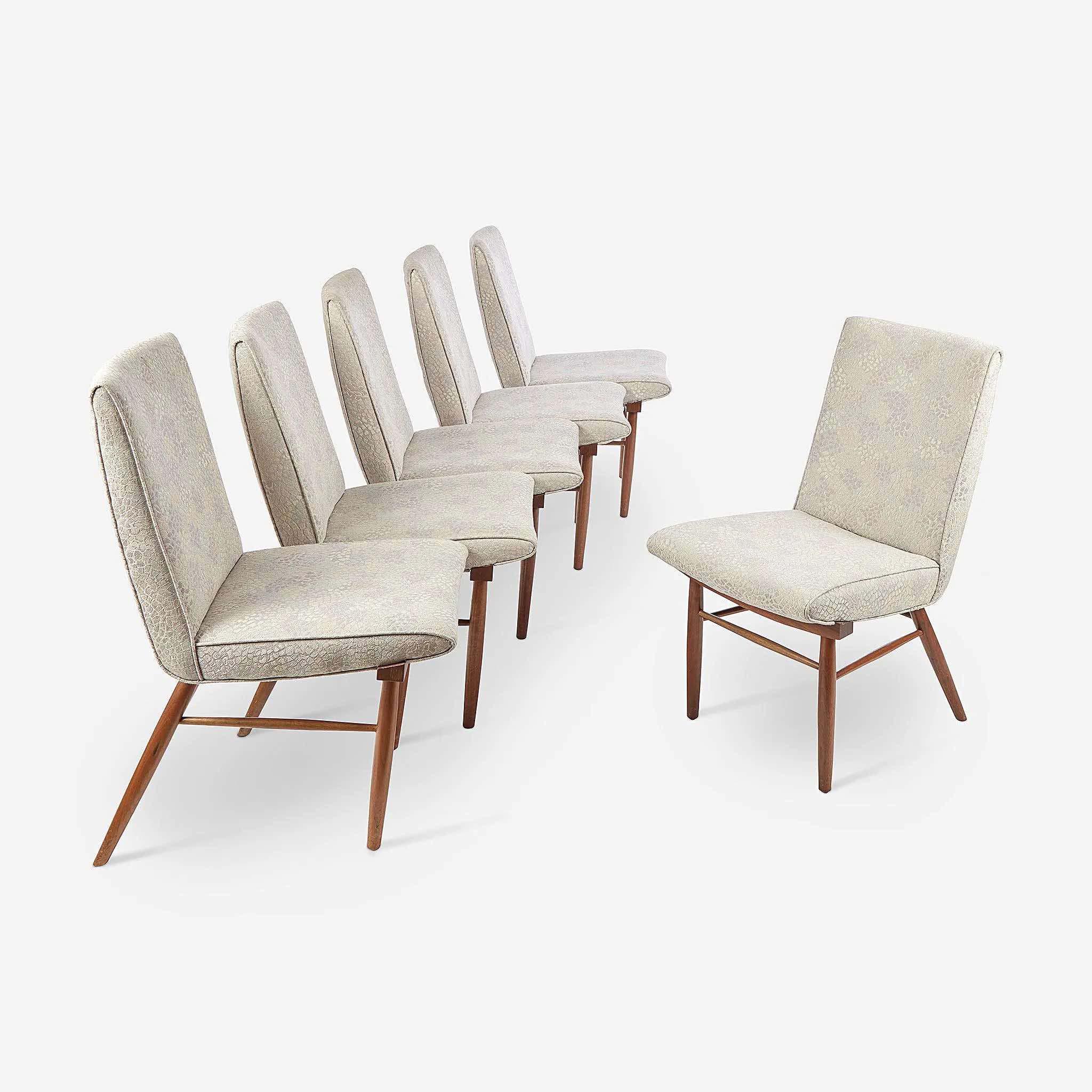 George Nakashima (American, 1905-1990), set of six 'Origins' side chairs, 1960s, $17,000 plus buyer's premium. Image courtesy Freeman's
