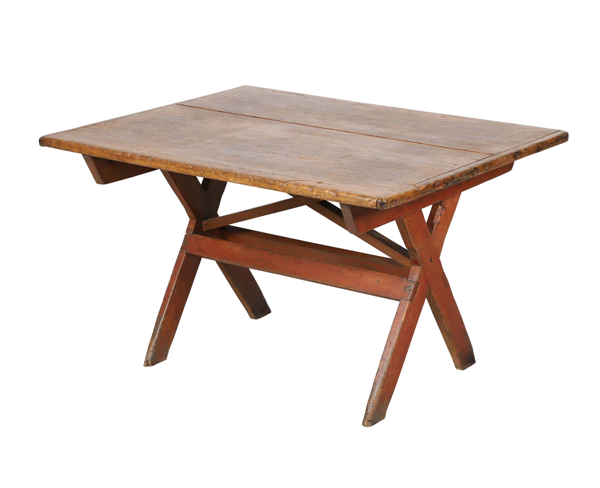 Drumbo (Ontario, Canada) painted pine sawbuck table, 1830s, $7,080. Image courtesy Miller & Miller