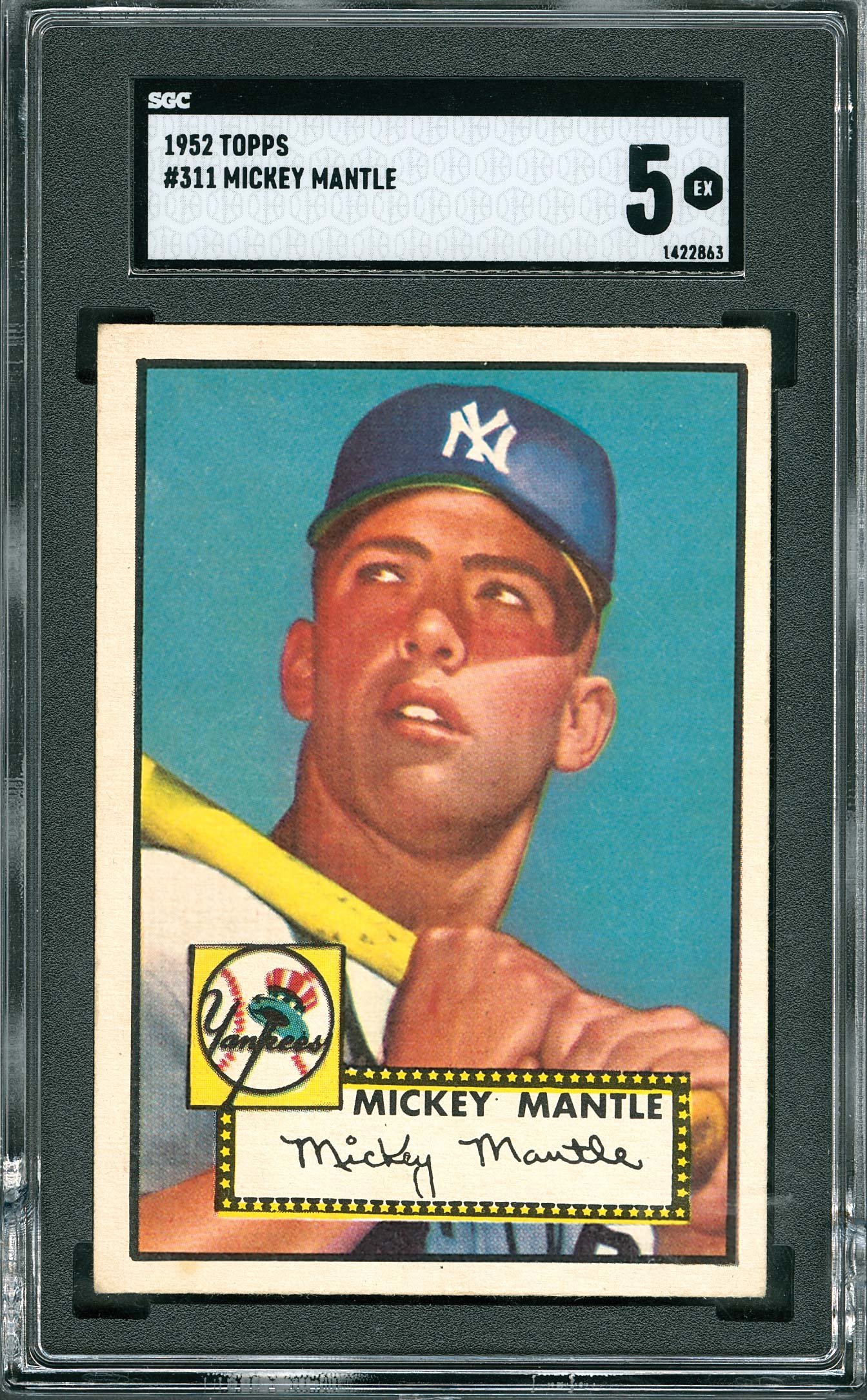 1952 Topps Mickey Mantle baseball card (graded by SGC EX 5), $106,920.