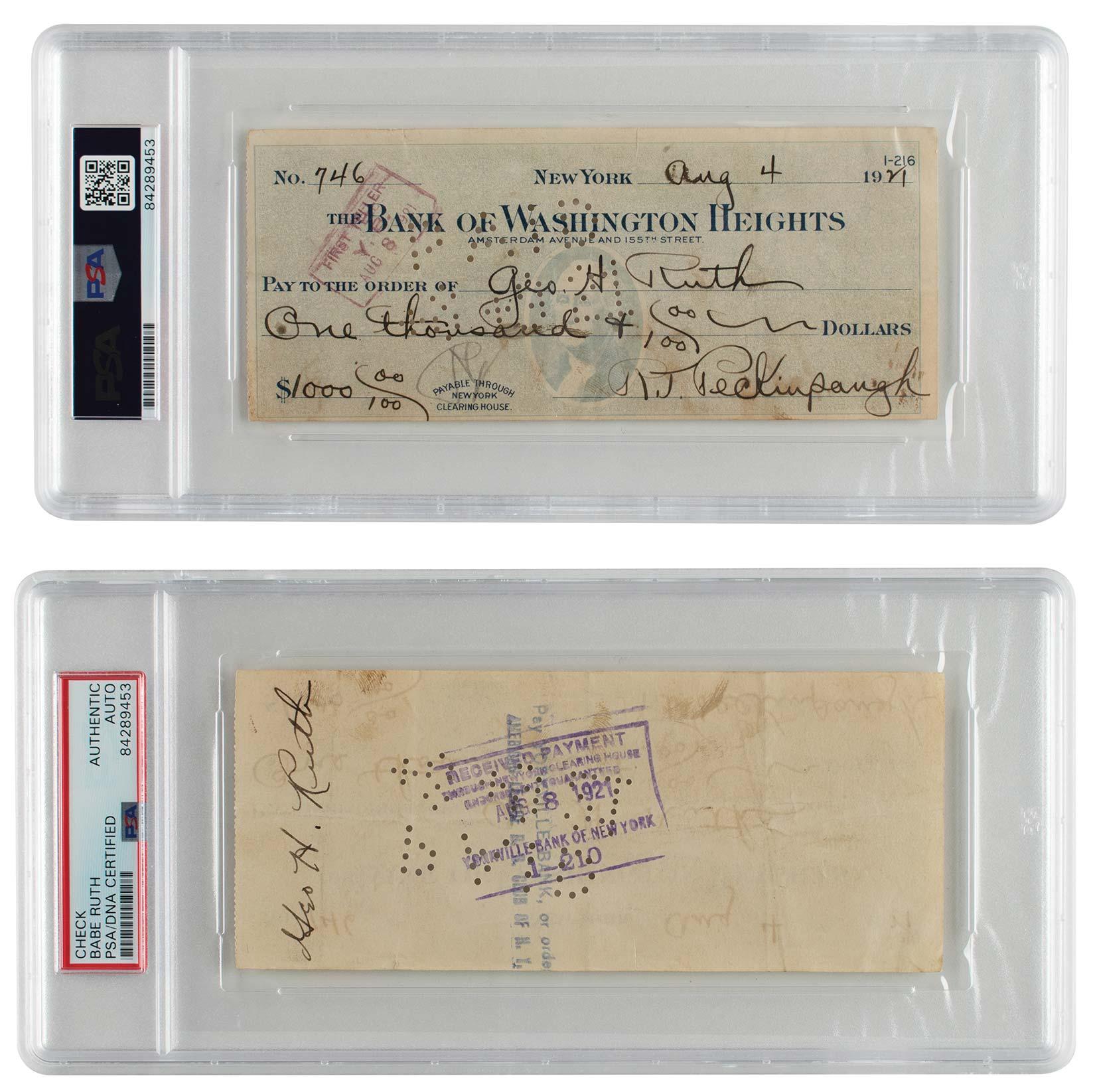 Bank of Washington Heights counter check by Roger Peckinpaugh, payable to Babe Ruth, $15,499.