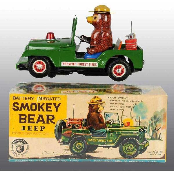 A rare Smokey Bear Jeep battery-operated toy, made in Japan, earned $1,400 plus buyer's premium in July 2010 at Dan Morphy Auctions. Photo courtesy of Dan Morphy Auctions and LiveAuctioneers.