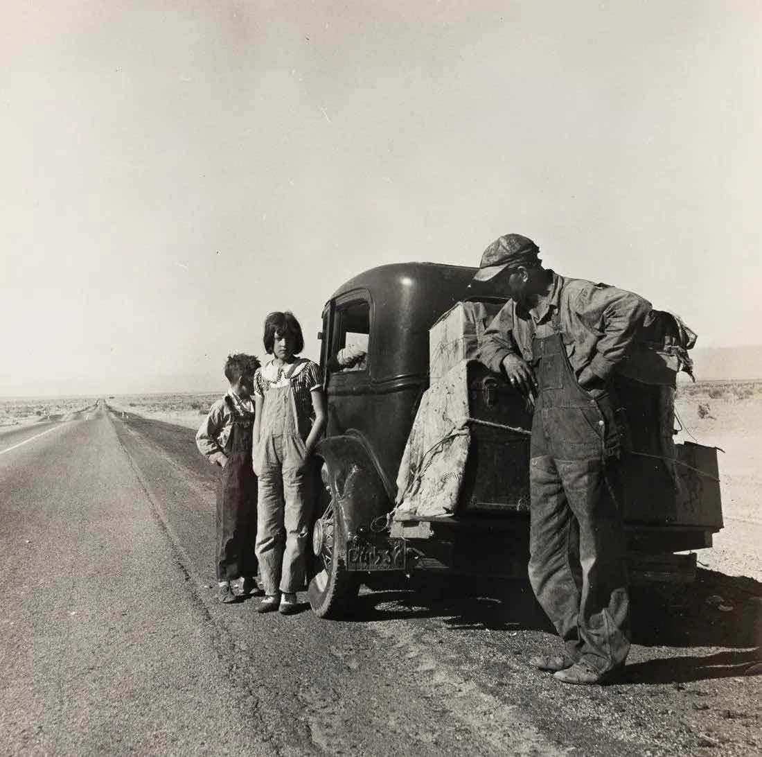 Dorothea Lange (1895-1965), 'Oklahoma sharecropper and family entering Calif. stalled on the desert near Indio,' $17,500