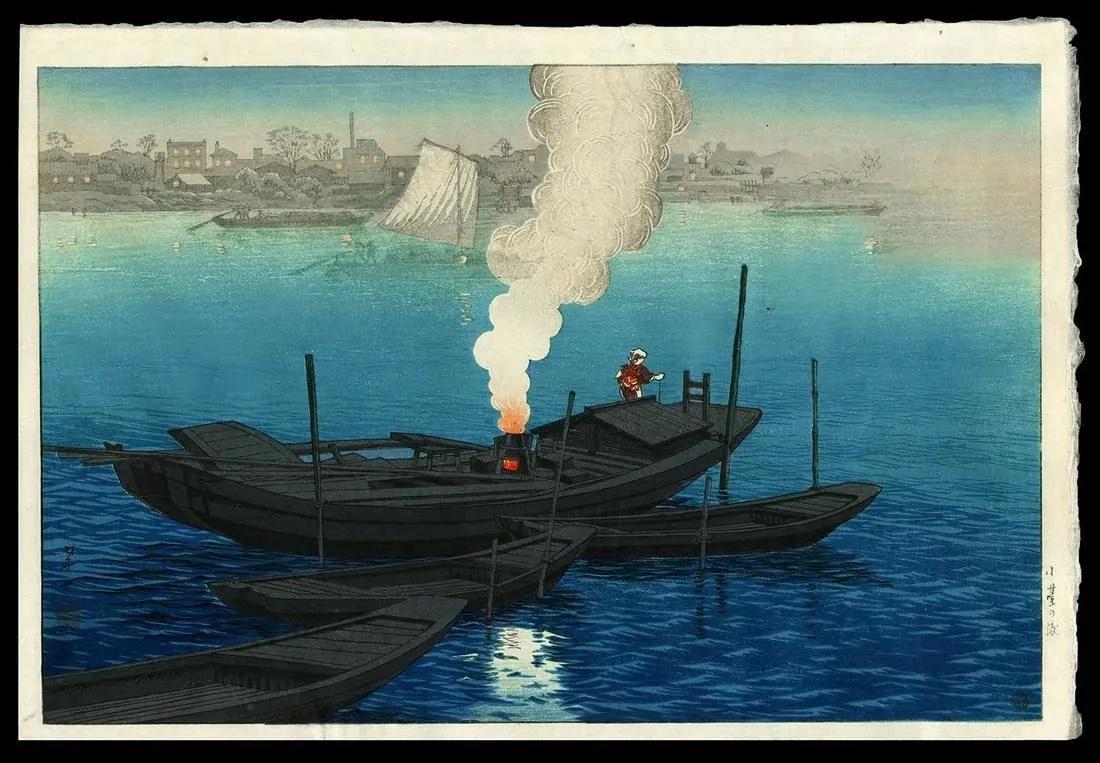 Takashi Ito (1894-1983), 'Odai Ferry in Tokyo,' circa 1945-1950, $1,100-$1,500. Image courtesy Jasper52