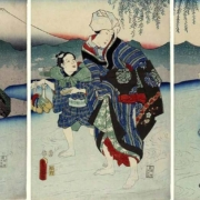 Utagawa Kunisada, 'The Tama River at Chofu,' from a set of triptychs released in 1854, $2,500-$3,000. Image courtesy Jasper52