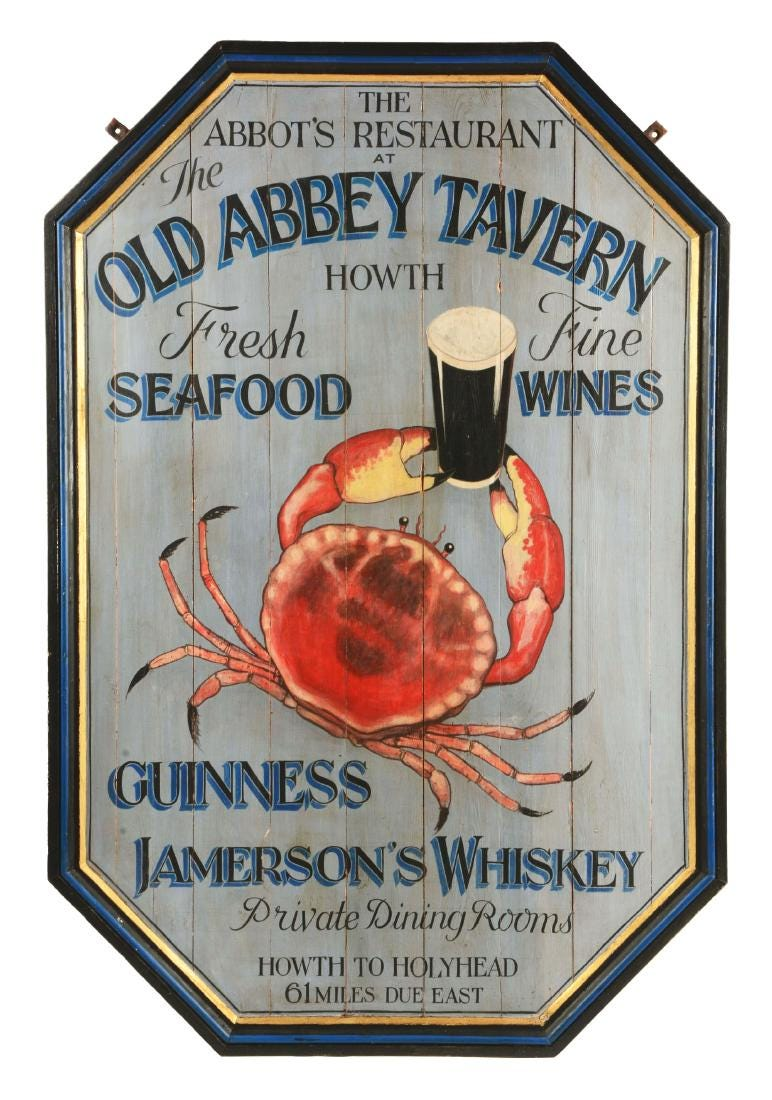 Guinness painted trade signs for Irish taverns, $3,000 plus buyer's premium. Photo courtesy of Dan Morphy Auctions and LiveAuctioneers.com