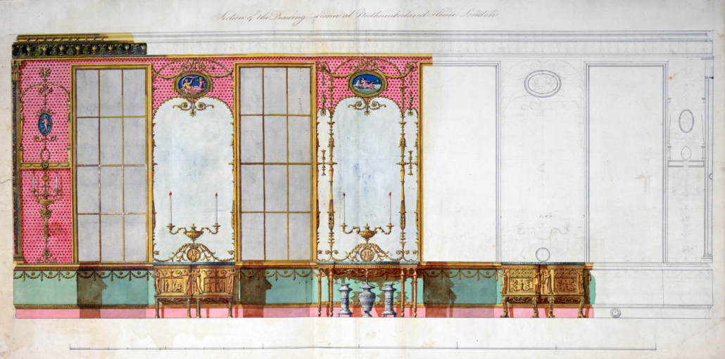 Robert Adam designs for the walls of the drawing room at Northumberland House, 1770-1773, from 'In Sparkling Company'