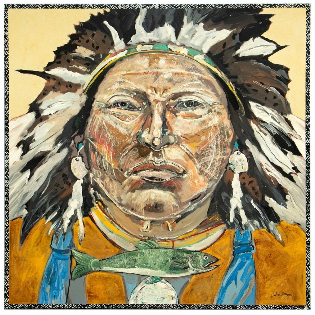 Ira Yeager's 2005 canvas 'Indian Portrait, Chief with Headdress and Trout,' estimated at $20,000-$30,000