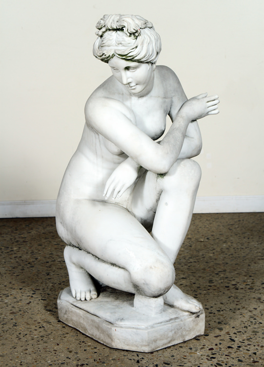 Marble sculpture of Diana resting on a jug, estimated at $2,500-$3,500