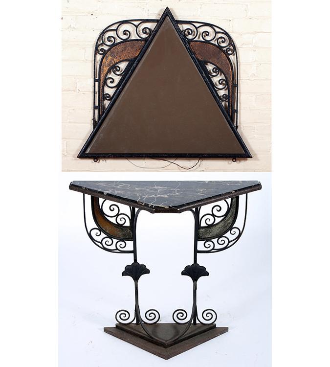 1930s Salterini console table plus mirror, estimated at $600-$800