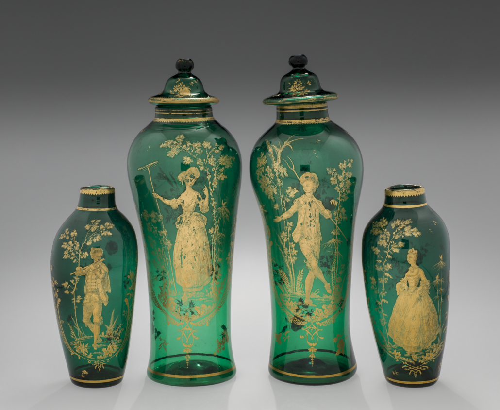 Circa 1765 English pair of covered green lead glass vases, from 'In Sparkling Company'