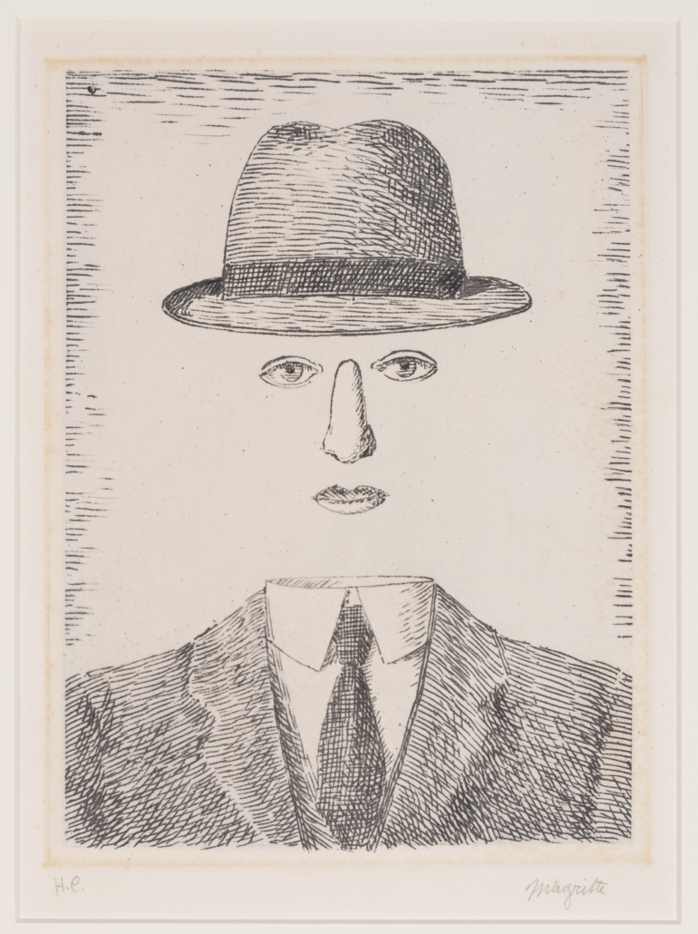 An etching by Rene Magritte titled 'Paysage de Baucis' sold for $25,500.