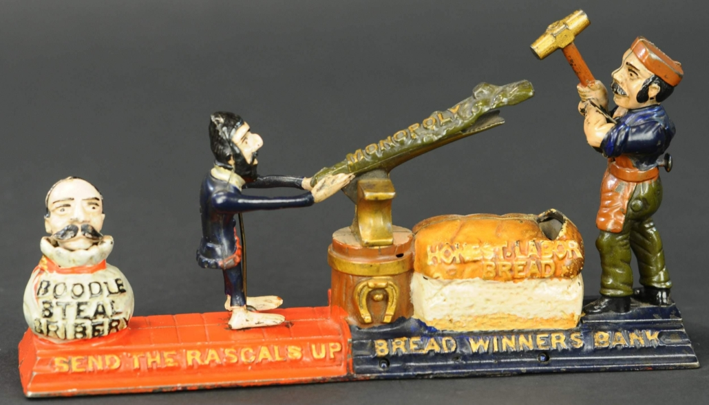 J&E Stevens Bread Winners cast-iron mechanical bank, which sold for $102,000
