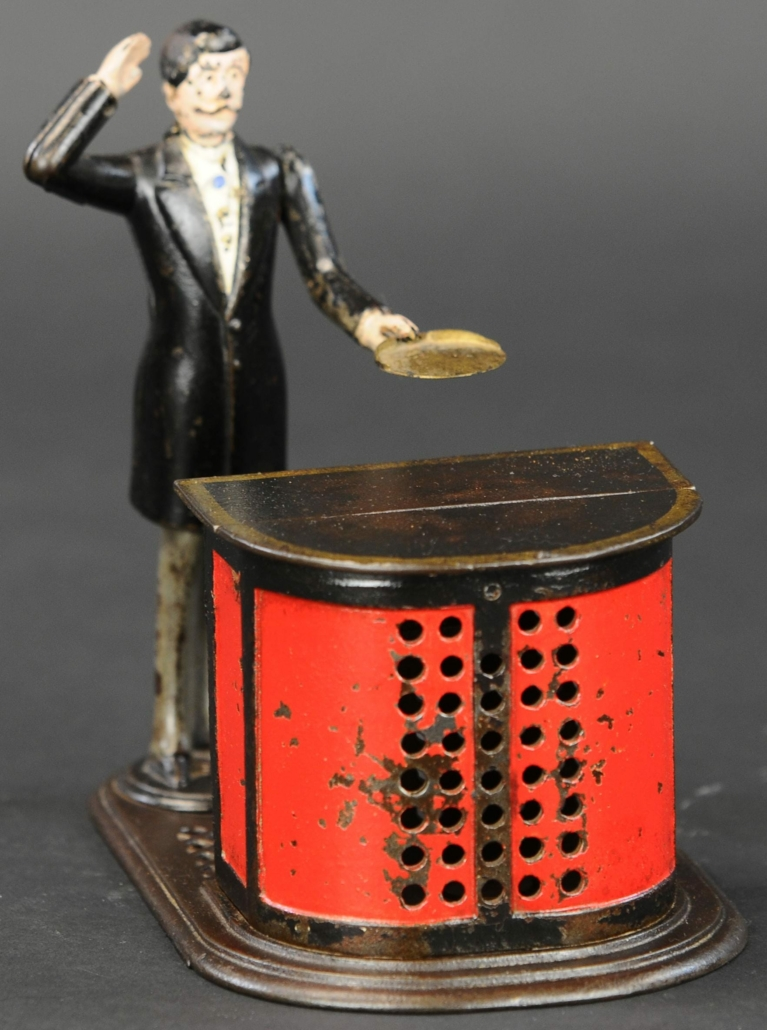 J&E Stevens Preacher in the Pulpit cast iron mechanical bank, which sold for $84,000