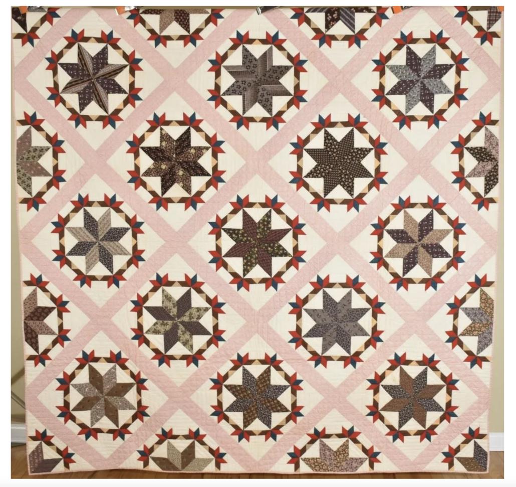 Circa 1870s pinwheel stars quilt