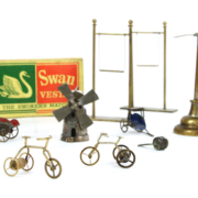 Collection of flea circus props and memorabilia from Professor Len Tomlin's Flea Circus, aka 'The Smallest Show On Earth'