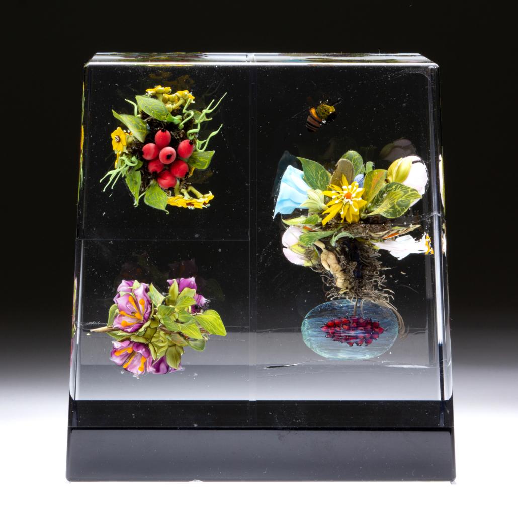 Paul Stankard (b.1943) botanical assemblage lampwork paperweight sculpture, estimated at $6,000-$8,000