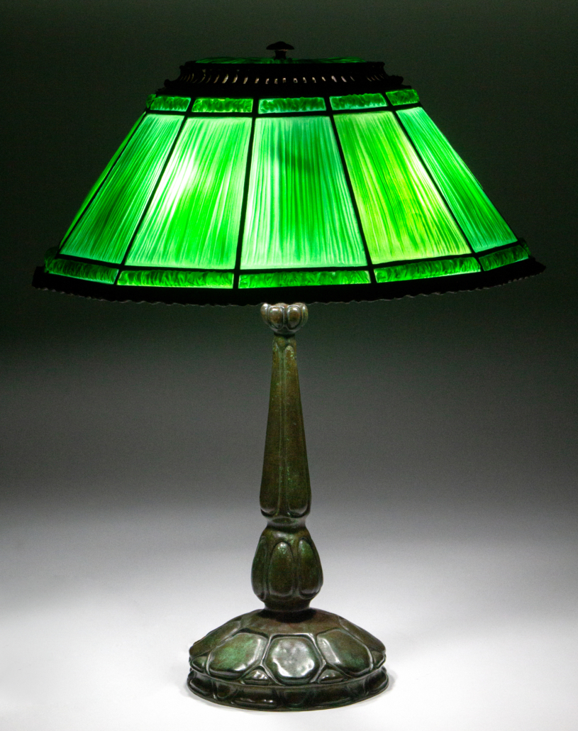Tiffany Studios linenfold table lamp with turtleback base, estimated at $10,000-$15,000