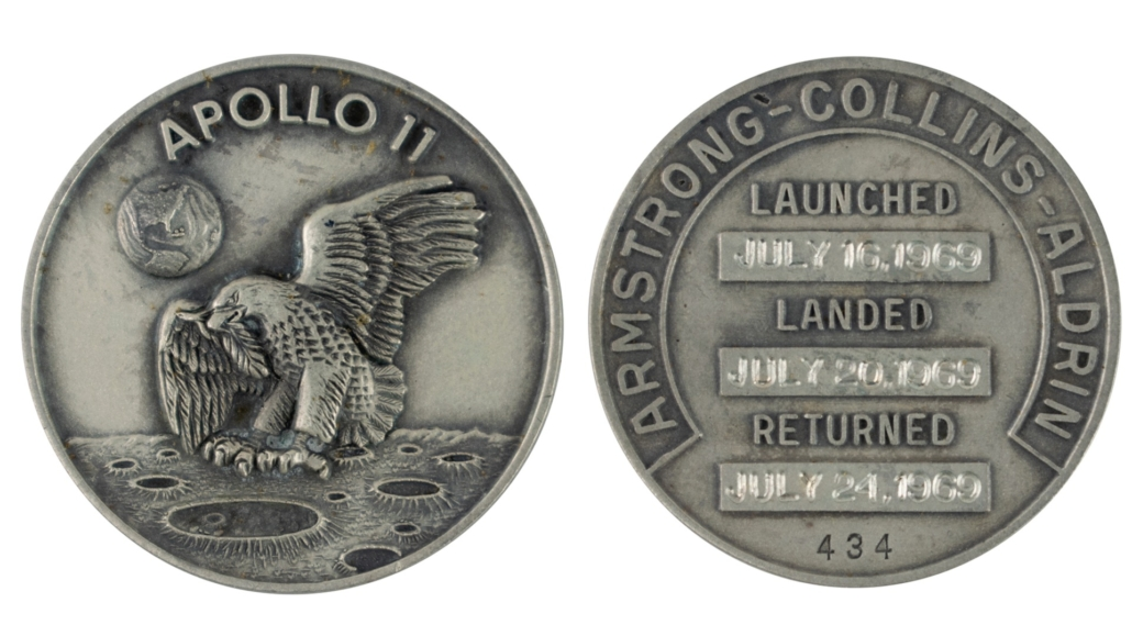 Buzz Aldrin's silver Robbins Medal, which sold for $37,500